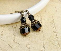 Black Earrings Jet Jewelry Victorian Earrings Czech Glass