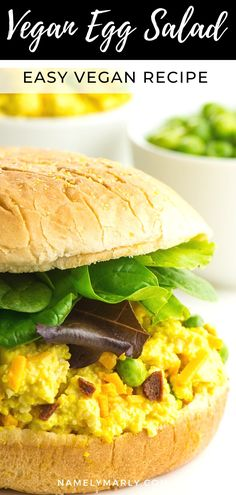 You're gonna love this Best Ever Simple Vegan Egg Salad recipe that's low carb, healthy, and delicious! Use it to make sandwiches, add to salads and more! Best Vegetarian Sandwiches, Vegan Sandwich Recipes, Vegan Lunch Recipes, Vegetarian Breakfast Recipes, Best Vegan Recipes, Vegan Sandwiches, Vegan Ideas, Vegan Foods, Vegan Breakfast