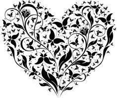 diseño de corazon tribal de flores