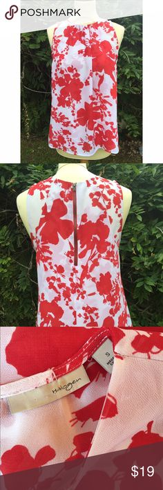Nordstrom Floral Sleeveless Top Nordstrom brand. Red & white floral print. Gorgeous top! Double layers drape beautifully. Exposed zipper detail in the back. Small smudge on the tag inside the shirt but in otherwise excellent condition and fresh from the dry cleaners! Comes from a smoke- and pet-free house. Bundle for additional savings! Halogen Tops Blouses