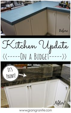 Home Remodeling Diy Kitchen Update on a budget. Countertop paint that looks like granite! Budget Kitchen Remodel, Kitchen On A Budget, Kitchen Redo, New Kitchen, Kitchen Remodeling, Kitchen Cabinets, Granite Kitchen, Diy Kitchen Makeover, Long Kitchen