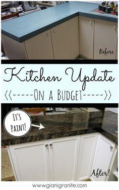 Kitchen Update on a budget. Countertop paint that looks like granite! #DIY www.gianigranite.com