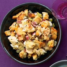 Thanksgiving emergency: soggy stuffing! Solution: Just scoop it out of the baking dish, spread it out on a sheet pan, and bake at 350° until it has the texture you're aiming for. Scoop it back into its dish and serve.