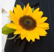 weddings with sunflowers ideas | Unexpected sunflower boutonniere.