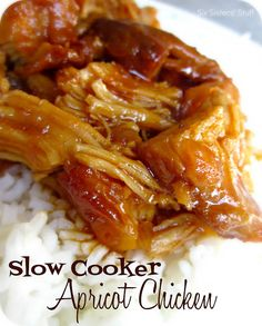 Slow Cooker Apricot Chicken from SixSistersStuff.com.  Only 4 ingredients and tastes as good as anything you would get at a restaurant! #recipes #slowcooker