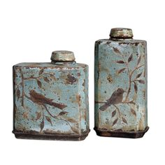 Uttermost 19547 Freya Light Sky Blue Container Set of 2 Slab Pottery, Ceramic Pottery, Ceramic Art, Thrown Pottery, Ceramic Bowls, Kintsugi, Cerámica Ideas, Vases, Sculptures Céramiques