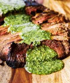 Flank Steak with Chimichuri! When marinated and cooked to med rare and cut on the bias, it becomes so flavorful and melt in your mouth goodness!