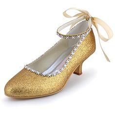 Kitten Heel - Glitter - FRAUEN Absätze/Geschlossene Spitze - Pumps / High Heels ( Schwarz/Blau/Elfenbein/Silber/Gold/Champagner ) - EUR € 37.99