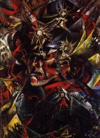 Self-portrait as Mars (Selbstbildnis mit Artillerie-Helm)1915. In the second year of war, he depcits himself as the God of War with angles borrowed from cubism. In this scene, death is abundant. Horses rear and flee. Buildings burst open and cities crumble. Yet Dix remains alive. Survival under such circumstances might give anyone a messiah complex.