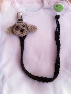 Pacifier Holder Crochet Handmade Puppy Dog Pacifier by LEOyarn, $10.00