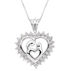 """Sterling Silver Diamond Double Heart Mother and Child Pendant Necklace (.15 cttw  H-I Color  I2)  18"""" http://my-jewelry.tk"""
