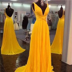 Yellow V Neck Long Cross Chiffon Backless Evening Dress Wedding Guest Prom Gowns #handmade #Maxi #Business
