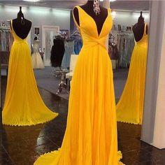 Yellow V Neck Long Cross Chiffon Backless Evening Dress Wedding Guest Prom Gowns #handmade #Maxi #Business