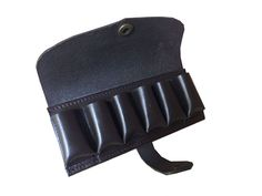 John Shooter Leather Cartridge Belt Pouch - Brown Made from dark rigid havana brown leather this bullet pouch will hold six 12 gauge cartridges