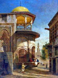 A street scene in old Cairo near the Ibn Tulun Mosque by Adrien Dauzats (French , 1804–1868) Oil On Panel , 63.8 cm X 47.6 cm - See more at:...