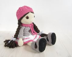 PATTERN: Doll - Girl in a dress, jacket, boots and hat - Amigurumi pattern - Crochet tutorial with photos (EN-054)
