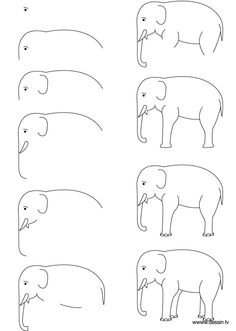 Easy elephant drawing easy step by step art drawings to practice bored art draw an easy Drawing Lessons, Drawing Techniques, Drawing Tips, Painting & Drawing, Drawing Ideas, Learn Drawing, Zoo Drawing, Drawing Faces, Elephants For Kids