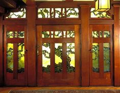 leaded art-glass entry The Gamble House - a Craftsman masterpiece with a beautiful Art Nouveau stained glass entryway House Front Door, House Doors, Front Doors, Entry Doors, Front Entry, Exterior Doors, Sliding Doors, Stained Glass Door, Stained Glass Designs