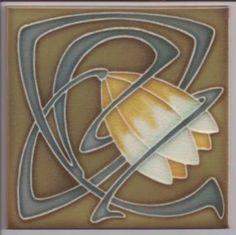 Art Nouveau / Arts & Crafts floral tile ref 021