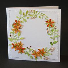 De krans is uitgestanst en gekleurd. Wedding Wreaths, Tree Leaves, Marianne Design, Cardmaking, Grasses, Blog, Decor, Cards, Lawn