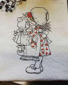 인형을 안은 귀여운소녀~~ #Illustration embroidery  #cute girl with doll illustration embroidery  #일러스트자수 # 일러스트장미자수 Towel Embroidery, Hand Embroidery Stitches, Japanese Embroidery, Embroidery Needles, Ribbon Embroidery, Cross Stitch Embroidery, Embroidery Patterns, Stitch Book, Blackwork