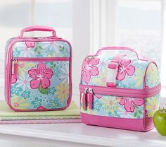 Mackenzie Aqua Hibiscus Lunch Bags #PotteryBarnKids