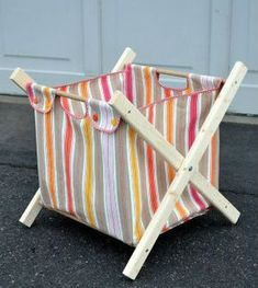 DIY clothes hamper by Ikat Bag Fabric Crafts, Sewing Crafts, Sewing Projects, Diy Crafts, Wooden Crafts, Sewing Hacks, Sewing Tutorials, Sewing Patterns, Diy Projects To Try
