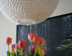 DIY crocheted pendant lamp.