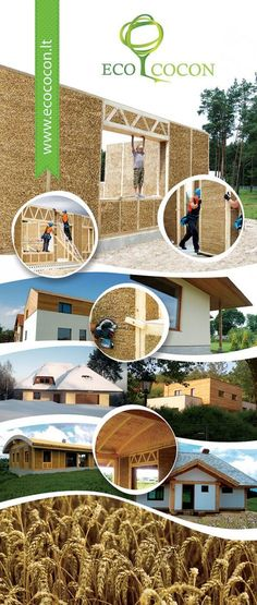 """Ecococon: Straw Panels """"Prefabricated load-bearing Straw Panels are made for cost-efficient and precise construction of super-insulated hous..."""