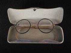 Antike Brille Flexible Bügel + Alu Etui Old School Nerd Um 1920!!!!!  26E