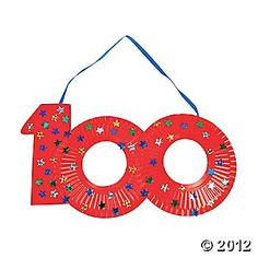 100th Day craft - use small plates and stickers to make a wearable necklace