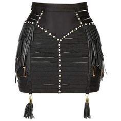 BORDELLE Leather Fringed Elastic Bondage Waspie ($1,467) ❤ liked on Polyvore featuring skirts, bottoms, bordelle, lingerie and black