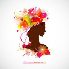 Silhueta da mulher perfil design floral brilhante Vetor grátis