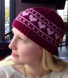 Hearts On Repeat Hat by Jules Lustenader.. A simple fair isle pattern with three size options.