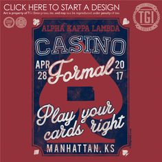 Alpha Kappa Lambda | AKΛ | Casino Formal | Formal Shirt |TGI Greek | Greek Apparel | Custom Apparel | Sorority Tee Shirts | Sorority T-shirts | Custom T-Shirts