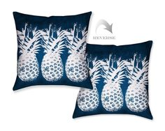 Make a bold statement in your outdoor decor with Laural Home's Indigo Pineapples Outdoor Decorative Pillow! - Pillow sewn closed - Digitally printed on a polyester, UV treated cover - Waterproof and m