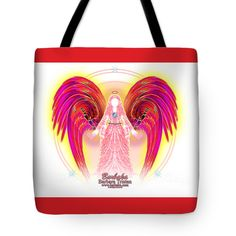 "Angel Intentions Divine Timing Tote Bag 18"" x 18"" by Barbara Tristan"