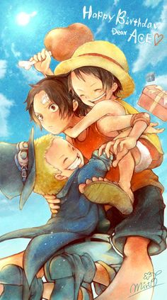 ASL brothers Monkey D. Luffy, Portgas D. Ace, and Sabo One piece art blue