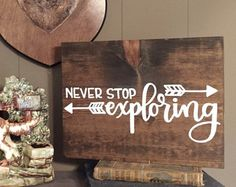 Adventure Awaits Wood Sign Hand Stained and by TheStyledHand DIY Wood Signs Adventure awaits Hand Sign Stained TheStyledHand Wood Pallet Art, Pallet Signs, Rustic Wood Signs, Wooden Signs, Rustic Decor, Canvas Quotes, Scripture Quotes, Travel Wall, Baby Quotes