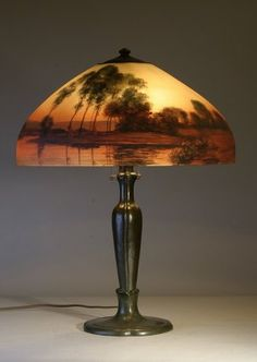 Handel lamp reverse painted landscape 6954 cowans auctions handel lamp reverse painted landscape 6954 cowans auctions lighting pinterest landscaping lights and craftsman mozeypictures Choice Image