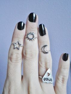 Items similar to Midi knuckle rings, sun, moon and star set of three, minimalist jewelry, minimalist rings on Etsy Estilo Grunge, Knuckle Rings, Midi Rings, Looks Vintage, Stars And Moon, Sun Moon, Heart Pendant Necklace, Soft Grunge, Mode Style