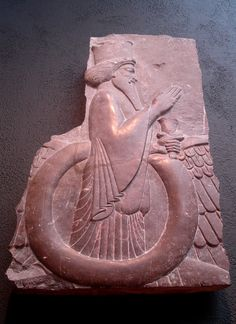 Le Faravahar, l'un des symboles les plus célèbres du zoroastrisme, la religion ancienne de l'Empire perse. La capitale Sasanienne Séleucie-Ctésiphon (près de Bagdad moderne) était un centre majeur de la théologie zoroastrienne avant la destruction de la ville en 637 après J.C. Musée Arthur M. Sackler à l'Université Harvard, Cambridge, MA. Photo de Babylon Chronicle