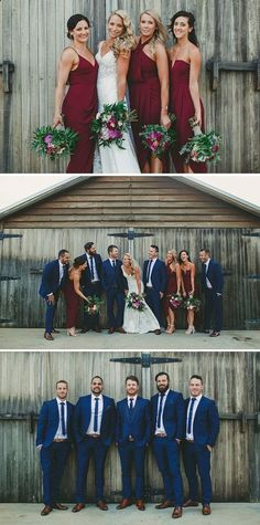 32 Bridal Party Outfit Ideas That Look Amazing 32 Bridal Party Outfit Ideas That Look Amazing,Wedding Cranberry bridesmaid dresses and blue groomsmen suits Groomsmen Colours, Blue Groomsmen Suits, Groomsmen Outfits, Groomsman Attire, Groom Suits, Groom Attire, Cranberry Bridesmaid Dresses, Blue Bridesmaids, Bridesmaid Color