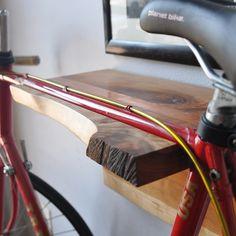 Hardwood Bike Rack - Cherry with live edge Wall Mount Bike Rack, Bike Mount, Bike Hanger, Wall Hanger, Bike Shelf, Bucket And Spade, Wood Bike, Spring Projects, Diy Projects