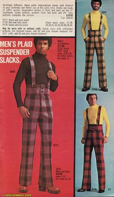 The seen through Department Store Wish Book Catalogs. Classic toys, bad fashion and Spider-Man appearing at your local mall. 70s Fashion Men, Fashion Fail, Retro Fashion, Fashion Models, Vintage Fashion, 70s Black Fashion, 70s Outfits, Cool Outfits, High Waisted Slacks