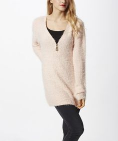 Loving this Pink Wool-Blend Zip-Front Tunic on #zulily! #zulilyfinds