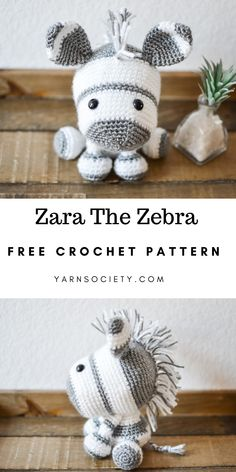 Zara The Zebra is quite shy, but if you're nice to her, she'll welcome you into her herd with open arms. This beginner friendly crochet pattern includes tons of pictures to help you along the way. for mom ideas Free Zebra Crochet Pattern By Yarn Society Crochet Pattern Free, Crochet Animal Patterns, Stuffed Animal Patterns, Crochet Patterns Amigurumi, Crochet Animals, Crochet Dolls, Knitting Patterns, Beginner Crochet Patterns, Crochet Stuffed Animals