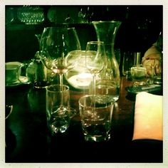 After dinner...love the view of a messy table and empty glasses!