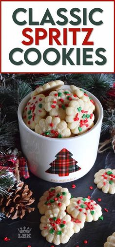 Simple and rustic is the way to go with these super buttery and tender Classic Spritz Cookies. A melt in your mouth cookie with festive sprinkles for fun and folly! #classic #spritz #cookies #christmas #holiday #baking #spritzer #press #sprinkles Best Holiday Cookies, Best Christmas Recipes, Holiday Recipes, Chocolate Chip Cookies, Easy Desserts, Dessert Recipes, Spritz Cookies, Party Dishes, Desert Recipes