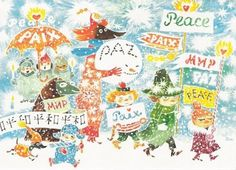 March for Peace • by Tove Jansson, Finland.  Design contributed to benefit the United Nations Children's Fund (UNICEF). - See more at: http://www.pientamuttasuurta.fi/2013/05/tove-janssonin-juhlavuosi-2014-tove.html#sthash.yq8TNTVj.dpuf